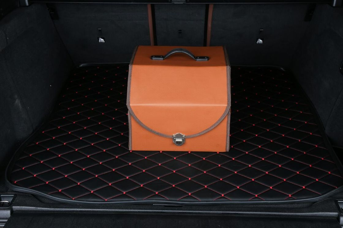 PU Orange Foldable Car Trunk Organizer Waterproof Ourdoor Travel Storage